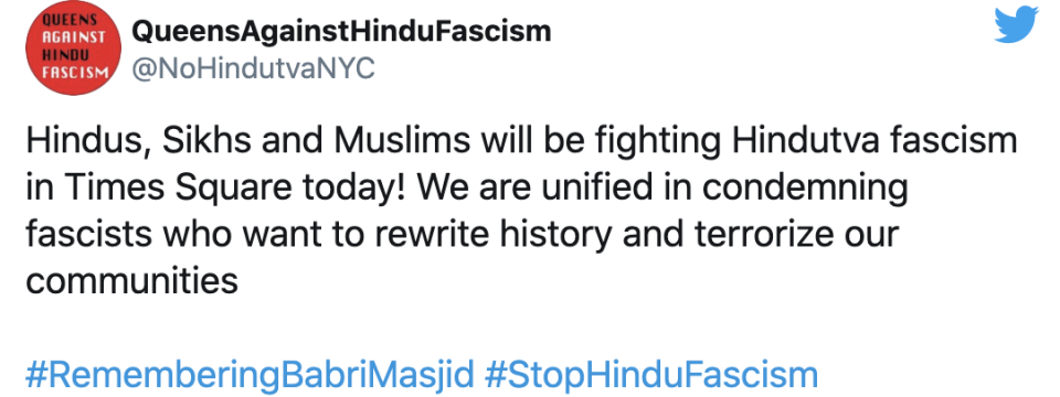 Several South Asian diaspora groups congress in Times Square to protest Ram Mandir billboard.