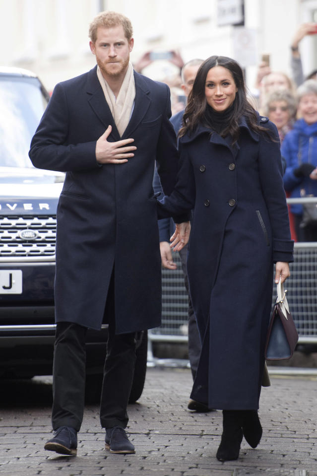Prince Harry and Meghan Markle in Nottingham on Dec. 1. (Photo: UK Press via Getty Images)