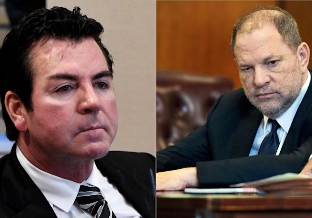 John Schnatter in Louisville, Ky., on Oct. 18, 2017 (L), Harvey Weinstein in New York on June 5, 2018. (AP Photo/Timothy D. Easley; Steven Hirsch/New York Post via AP)