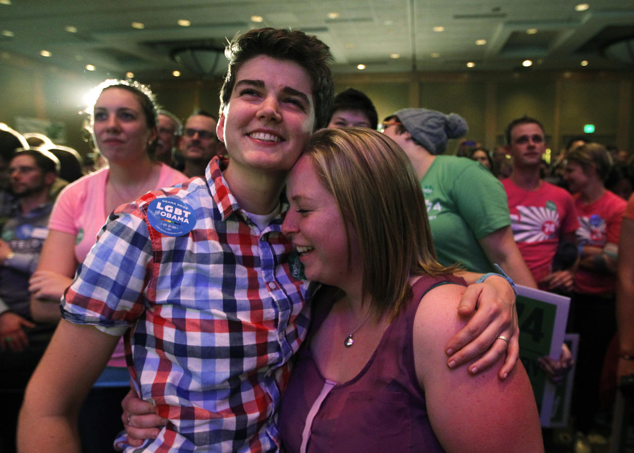 Whitney Young, left, embraces her partner Marlena Blonsky as they listen to speeches at an election watch party for proponents of Referendum 74, which would uphold the state's new same-sex marriage law, Tuesday, Nov. 6, 2012, in Seattle. (AP Photo/Elaine Thompson)