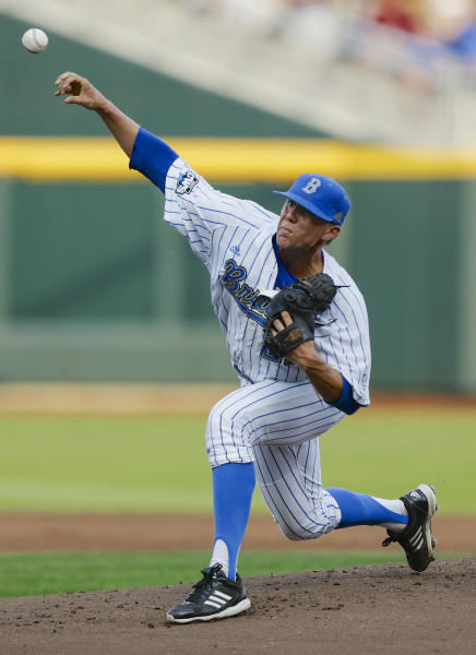 UCLA starting pitcher Nick Vander Tuig throws against Mississippi State in the first inning of Game 2 in their NCAA College World Series baseball finals, Tuesday, June 25, 2013, in Omaha, Neb. (AP Photo/Eric Francis)