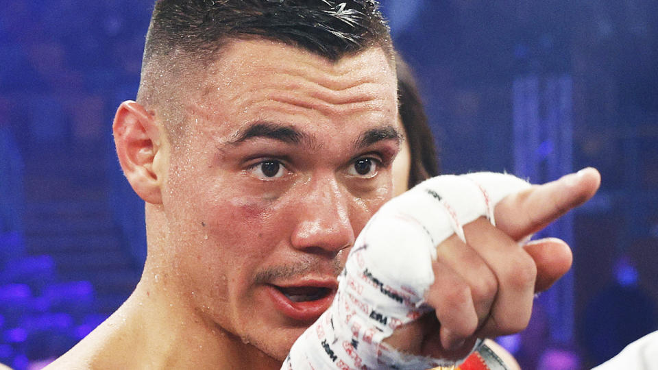 Tim Tszyu called out his world championship rivals after defeating Steve Sparks on Wednesday night. (Photo by Mark Evans/Getty Images)