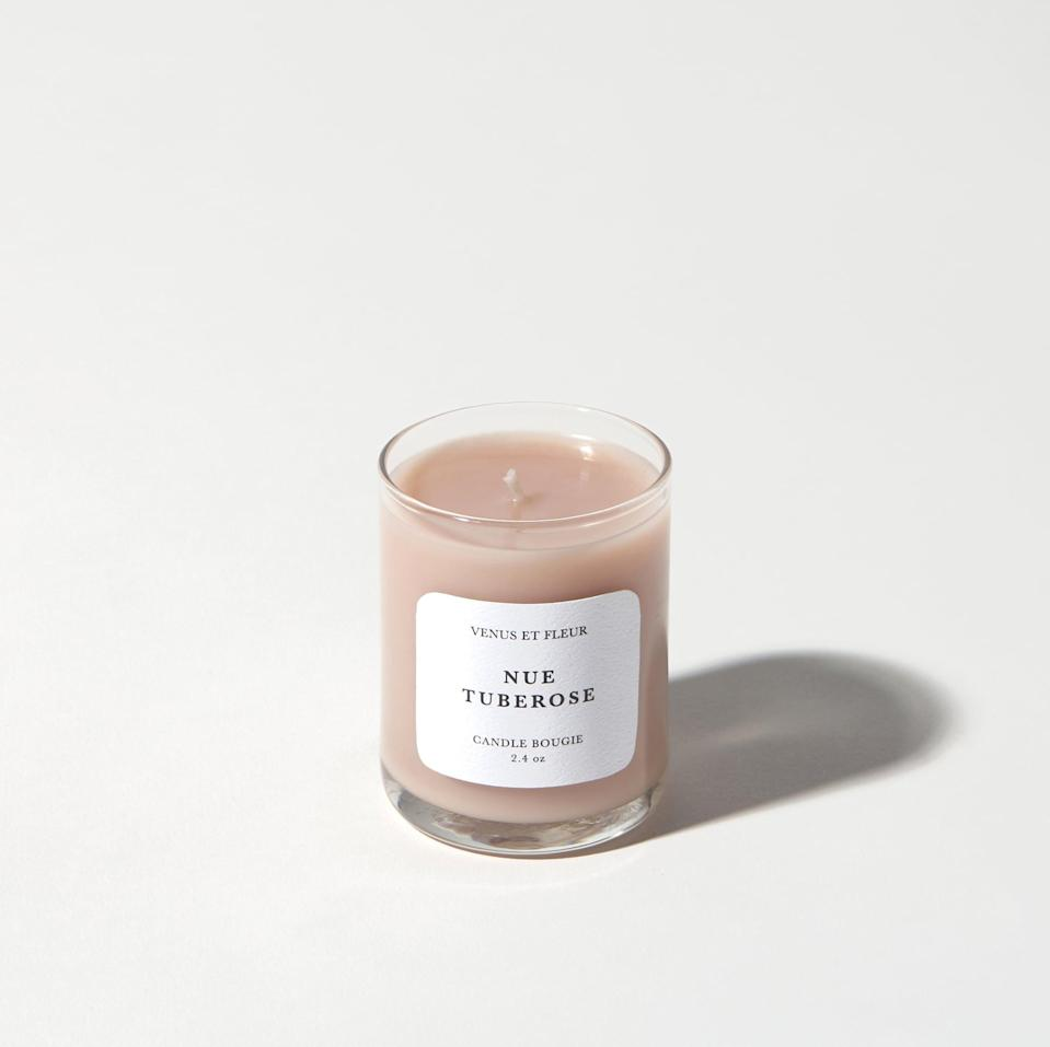 """<p>""""<span>Venus et Fleur Nue Tuberose Votive</span> ($39 for the 2.4 oz. votive, $129 for the 11 oz.), is a small joy that's on my mind this week. I love a candle that quietly doubles as an air freshener when it isn't burning, and this one definitely pulls its weight off-hours. I keep it on my bedside, and it makes my room smell faintly like roses. (It's actually a mix of orange blossom, bergamot, freesia, and lotus, so it just smells nice.)"""" - Chris Roney, copyeditor</p> <p>If you want to read more, here is the <a href=""""https://www.popsugar.com/home/venus-et-fleur-nue-tuberose-candle-review-47852544"""" class=""""link rapid-noclick-resp"""" rel=""""nofollow noopener"""" target=""""_blank"""" data-ylk=""""slk:Venus et Fleur Nue Tuberose Votive Candle"""">Venus et Fleur Nue Tuberose Votive Candle</a> review.</p>"""