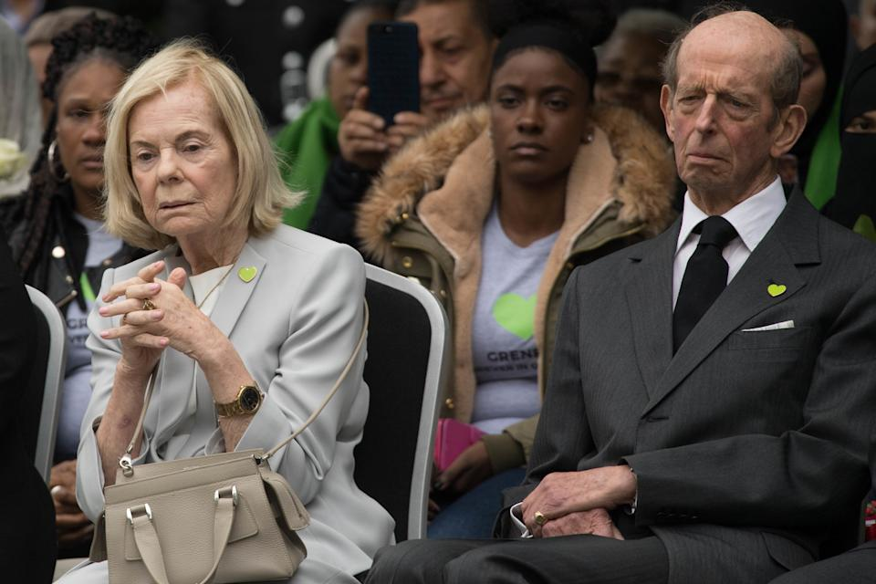 LONDON, ENGLAND - JUNE 14: The Duke and Duchess of Kent attend a service at the base of the Grenfell Tower on the one year anniversary of the Grenfell Tower fire on June 14, 2018 in London, England. In one of Britain's worst urban tragedies since World War II, a devastating fire broke out in the 24-storey Grenfell Tower on June 14, 2017 where 72 people died from the blaze in the public housing building of North Kensington area of London. (Stefan Rousseau / WPA Pool / Getty Images)