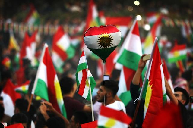 <p>Iraqi Kurds take part in an event to urge people to vote in the upcoming independence referendum in Arbil, the capital of the autonomous Kurdish region of northern Iraq, Sept. 16, 2017. (Photo: Safin Hamed/AFP/Getty Images) </p>