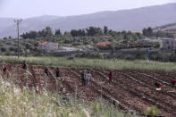 The Israeli village of Metulla, background, is seen from the Lebanese-Israeli border as Syrian farmers work in the village of Kfar Kila, in southeast Lebanon, Wednesday, May 20, 2020. Twenty years after Hezbollah guerrillas pushed Israel's last troops from southern Lebanon, both sides are gearing up for a possible war that neither seems to want. (AP Photo/Bilal Hussein)