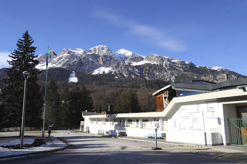 A view of the Palazzo del Ghiaccio (Ice Palace) in Cortina D'Ampezzo, northern Italy, Wednesday, Jan. 16, 2019. A wide swath of northern Italy will benefit from 1 billion euros ($1.2 billion) in infrastructure development that the government has signed off on to improve access to the venues for the Milan-Cortina Winter Olympics in 2026. (AP Photo/Marco Trovati)