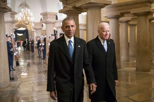 PHOTO: President Barack Obama and Vice President Joe Biden walk through the the Capitol for Donald Trump's inauguration ceremony, in Washington, Jan. 20, 2017. (Pool via Getty Images, FILE)