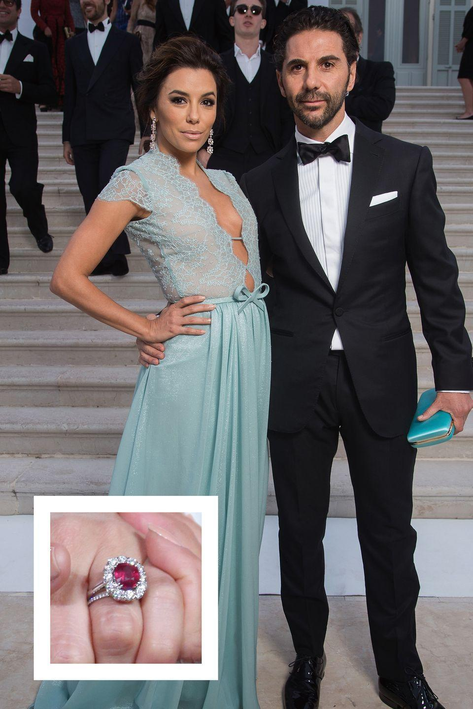 """<p>The actress, producer, and activist got engaged to her now-husband José Baston in December 2015 in Dubai. Baston proposed with a gorgeous ring featuring a six to eight carat ruby surrounded by a halo of diamonds, <a href=""""http://www.theknotnews.com/eva-longoria-on-ellen-ruby-engagement-ring-and-meeting-fiance-3169"""" rel=""""nofollow noopener"""" target=""""_blank"""" data-ylk=""""slk:the Knot reports."""" class=""""link rapid-noclick-resp""""><em>the Knot </em>reports.</a></p>"""