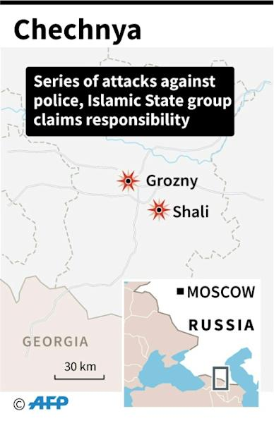 Map locating Grozny and Shali in the Russian republic of Chechnya where IS group claimed responsibity for attacks on police