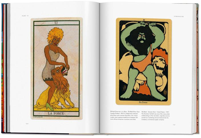 """Two pages of artwork from Taschen's """"Tarot. The Library of Esoterica"""""""
