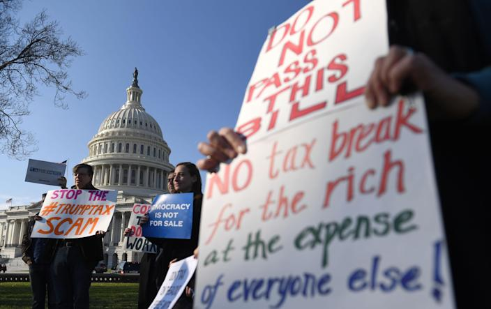 People protest against tax reform