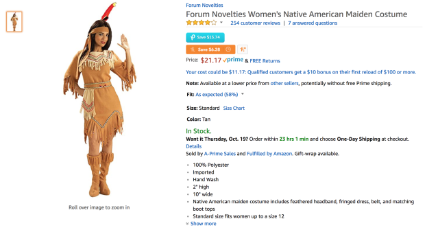 Native American costume sold on Amazon. (Photo: Amazon/Forum Novelties)