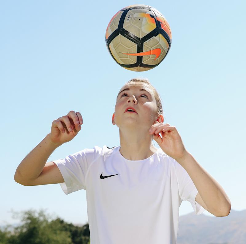 Olivia Moultrie, 13, turned pro as Nike's newest soccer endorser. (Nike/AP)