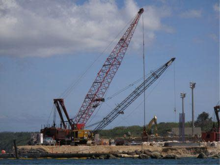 Construction near Apra Harbor, Guam. Construction threatens the diverse marine species that live in the harbor as well as creates more waste that has no place to be treated or disposed of. Photo credit: Laurie Raymundo http://www.wri.org/publication/reefs-at-risk-revisited/stories/guam