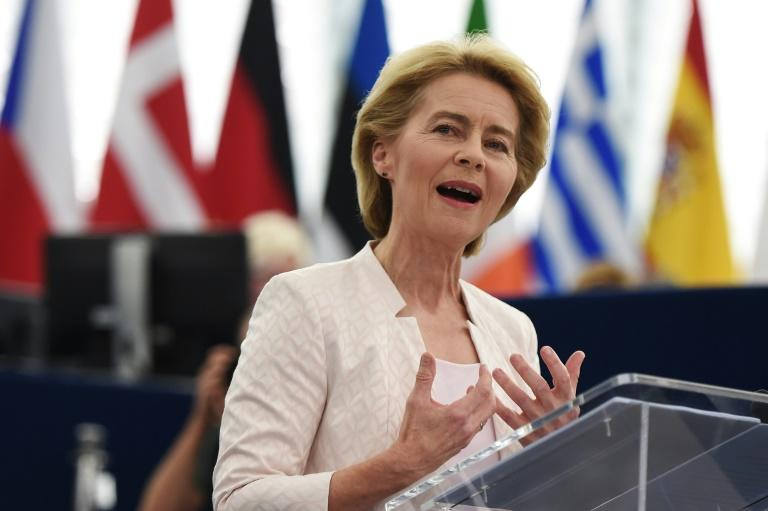 Outgoing German Defence Minister and EU Commission president nominee Ursula von der Leyen delivers a speech during her statement for her candidacy for President of the Commission at the European Parliament in Strasbourg, eastern France (AFP Photo/FREDERICK FLORIN)