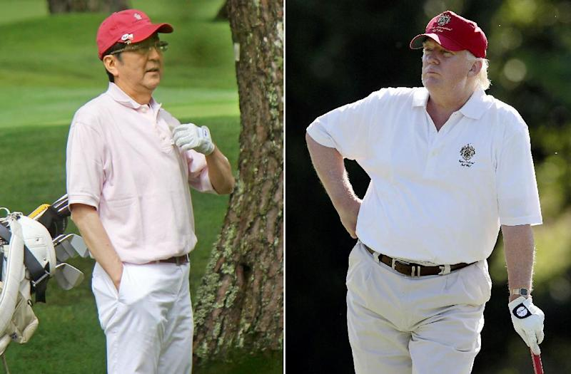 FILE - This combination file photo shows Donald Trump, right, stands on the 14th fairway during a pro-am round of the AT&T National golf tournament at Congressional Country Club in Bethesda, Md. on June 27, 2012, and Japanese Prime Minister Shinzo Abe, left, playing golf in Yamanakako village, west of Tokyo, on July 23, 2016. If they stick to schedule, Abe and Trump will spend more time on the fairway than at the White House. After facing off on some divisive issues in Washington on Friday, Feb. 10, 2017, they are jetting to Florida, where they will turn to something they have in common on Saturday: a love of golf. (AP Photo/Patrick Semansky, right, Kyodo News via AP, left, File)