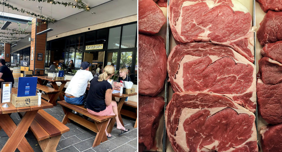 The outdoor seating area of the Bavarian restaurant in Macarthur, and a close up of butcher's meat.