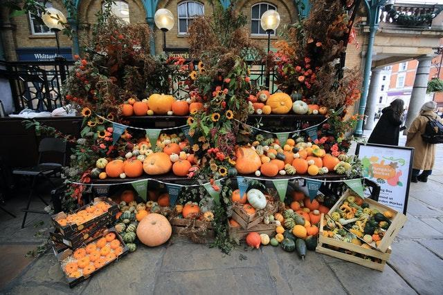 A pumpkin stall at the first ever pumpkin market at Covent Garden in London, with over 200 pumpkins and fourteen varieties of squashes and gourds available (Aaron Chown/PA)