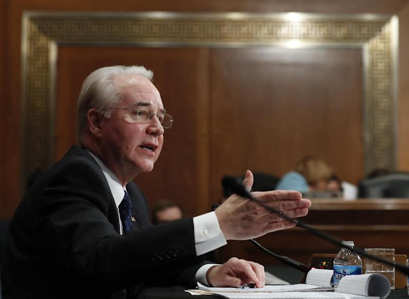 FILE - In this Jan. 18, 2017 file photo, then-Health and Human Services Secretary-designate, now Secretary Tom Price, testifies on Capitol Hill in Washington. The Trump administration took steps Wednesday, Feb. 15, 2017,  intended to help calm jittery insurance companies and make tax compliance with former President Barack Obama's health law less burdensome for some people. (AP Photo/Carolyn Kaster)