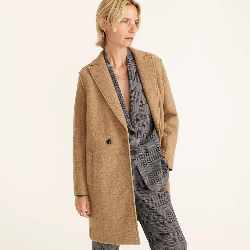 <p>The clean lines of this <span>J.Crew Daphne Topcoat</span> ($248 (plus 30 percent off with code SALEONSALE) give it universal appeal, while the simple construction has understated elegance. It will imbue your wardrobe with modern practicality.</p>