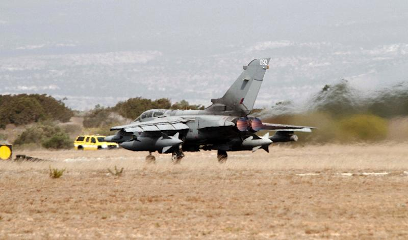A Royal Air Force Tornado GR4 fighter jet takes off from the Akrotiri British RAF airbase near the Cypriot port city of Limassol on September 27, 2014