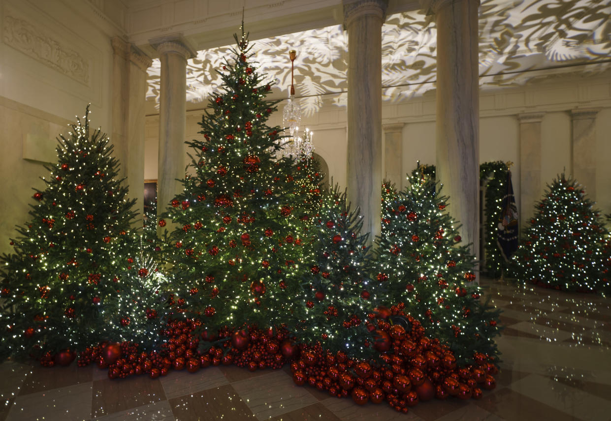 Grand Foyer and Cross Hall are seen during the 2018 Christmas preview at the White House in Washington, Monday, Nov. 26, 2018. (Photo: Carolyn Kaster/AP)