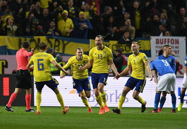 Sweden beat Italy 1-0 in the first leg of their UEFA World Cup qualifying playoff in Solna. (Getty)