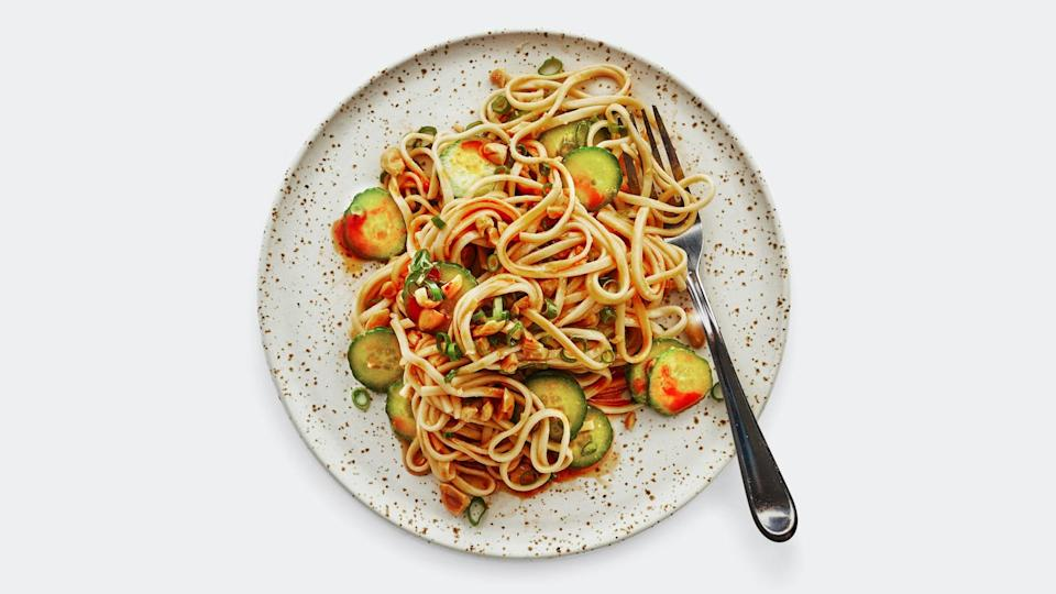 """<a href=""""https://www.bonappetit.com/recipe/peanut-butter-noodles-with-cucumbers?mbid=synd_yahoo_rss"""" rel=""""nofollow noopener"""" target=""""_blank"""" data-ylk=""""slk:See recipe."""" class=""""link rapid-noclick-resp"""">See recipe.</a>"""
