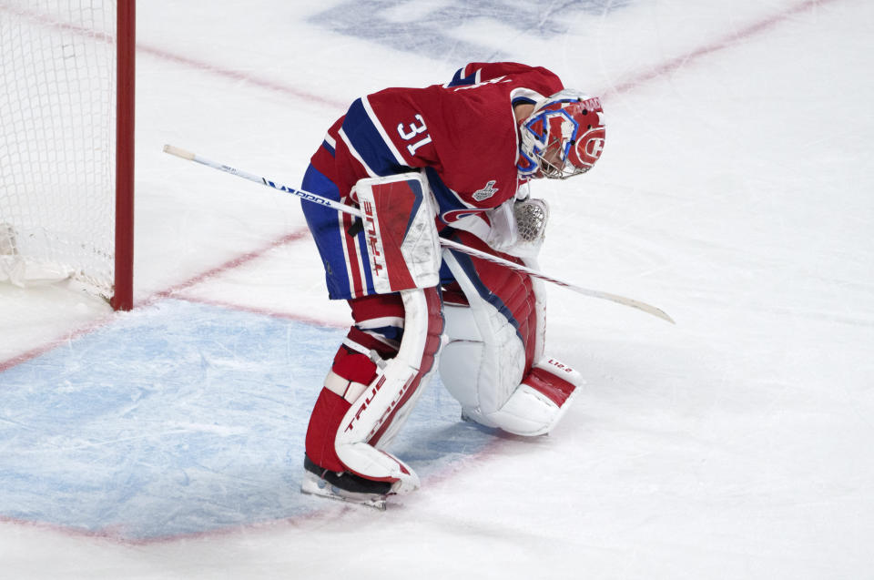 Montreal Canadiens goaltender Carey Price sets up in front of the net following a goal by Tampa Bay Lightning's Tyler Johnson during the third period of Game 3 of the NHL hockey Stanley Cup Final, Friday, July 2, 2021, in Montreal. (Paul Chiasson/The Canadian Press via AP)