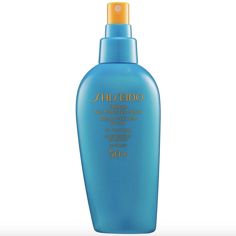 <p>The <span>Shiseido Ultimate Sun Protection Spray Broad Spectrum SPF 50+ For Face/Body</span> ($40) will provide you with optimal sun protection in all those hard-to-reach areas, and its long-lasting formula is light and nongreasy.</p>