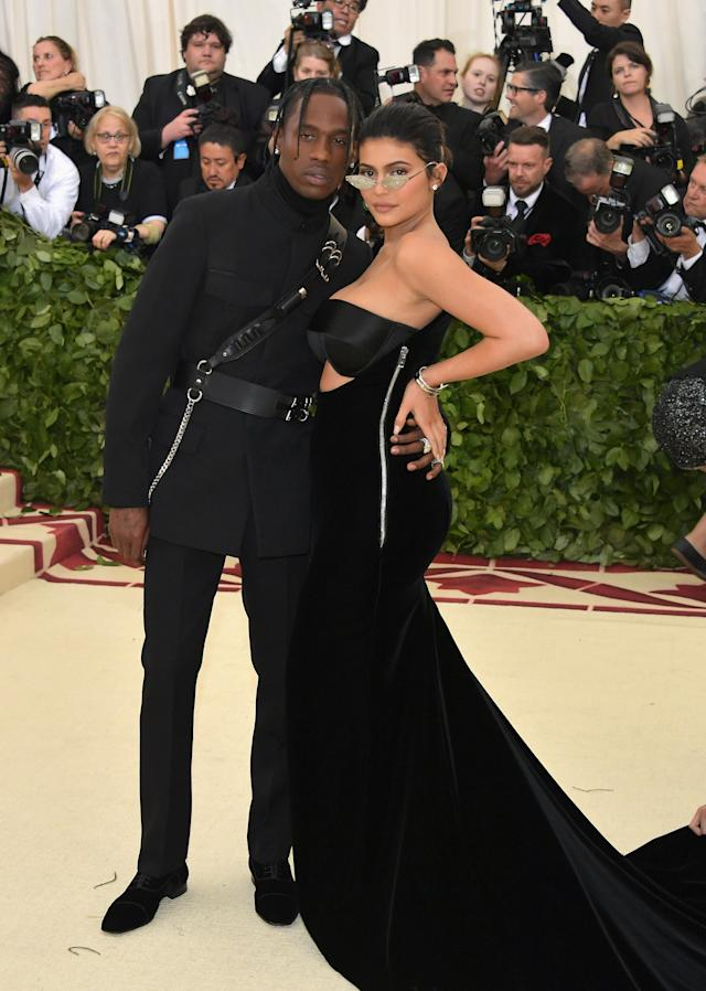 Kylie Jenner and Travis Scott attend the Heavenly Bodies: Fashion & The Catholic Imagination Costume Institute Gala at The Metropolitan Museum of Art on May 7, 2018 in New York City. (Photo: Getty Images)