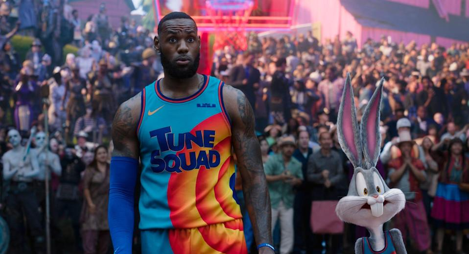 """LeBron James in a scene from """"Space Jam: A New Legacy."""""""