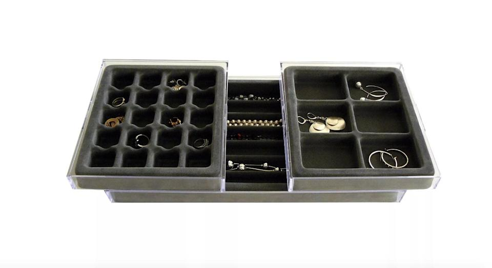 <p>The <span>Axis International Stack'em Plastic Jewelry Organizer</span> ($35) works great for drawers.</p>