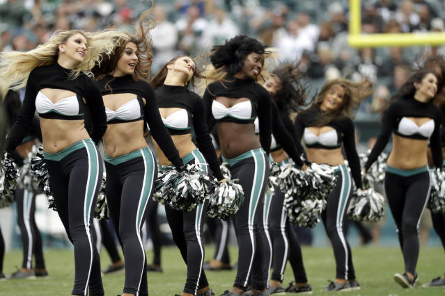 <p>Philadelphia Eagles' cheerleaders perform before an NFL football game against the Denver Broncos, Sunday, Nov. 5, 2017, in Philadelphia. (AP Photo/Michael Perez) </p>