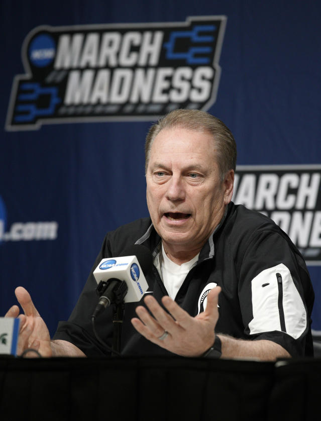 Michigan State coach Tom Izzo speaks during a news conference at the NCAA mens college basketball tournament in Des Moines, Iowa, Friday, March 22, 2019. Michigan State faces Minnesota in the second round on Saturday. (AP Photo/Nati Harnik)