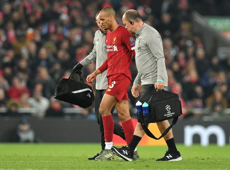 Liverpool midfielder Fabinho leaves the pitch during the Champions League match against Napoli