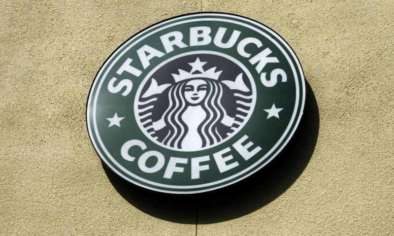 The logo of a Starbucks Coffee store is pictured in Boca Raton, Florida