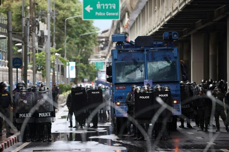 Riot police and water cannon were deployed on Bangkok's streets to block the pro-democracy protests (AFP/Jack TAYLOR)