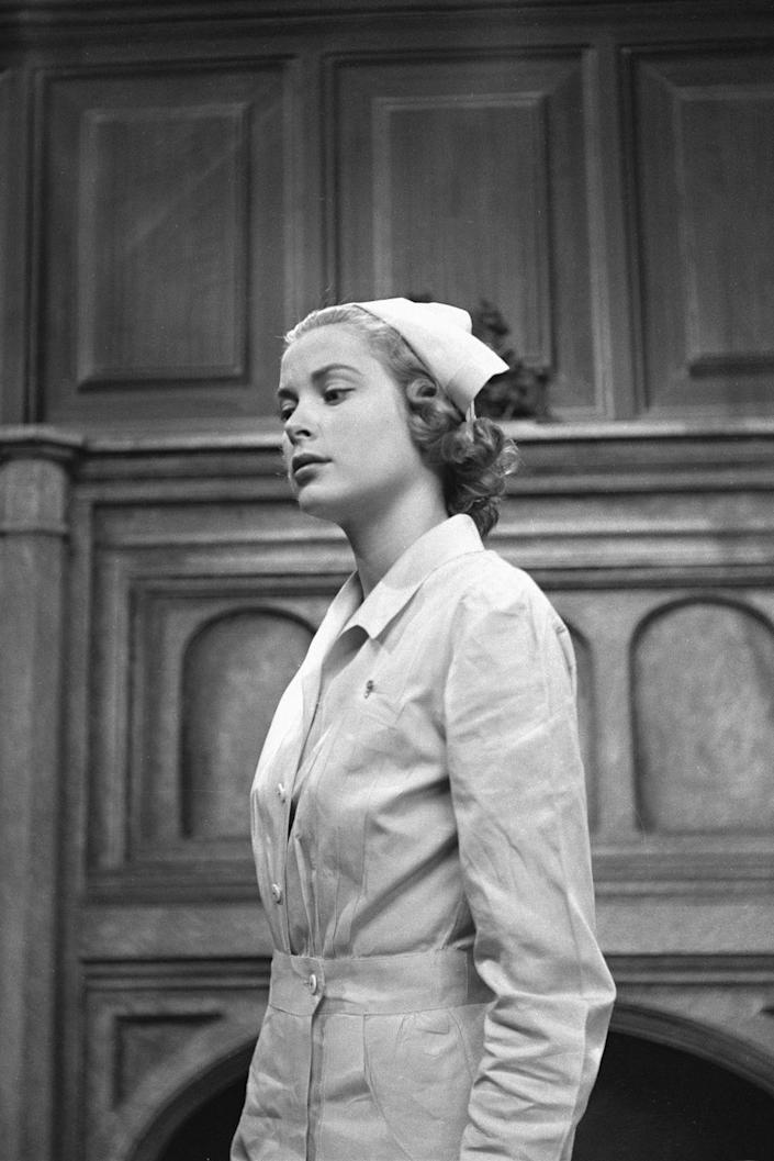 <p>As a young actress, Grace Kelly dons a nurses outfit for an episode of CBS's anthology series <em>Studio One in Hollywood </em>in 1950. The actress and future Princess of Monaco would move on to starring in films. </p>