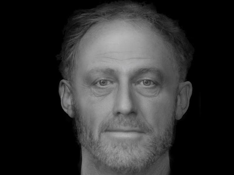 A reconstruction of the face of a man who died in Cambridge more than 700 years ago: Dr Chris Rynn, Dundee University