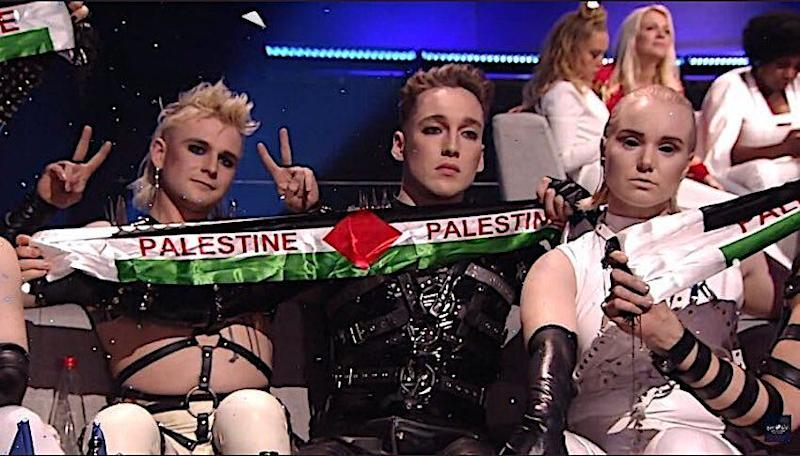 Iceland's Hatari hold up Palenstine banner on camera at the 2019 Eurovision Song Contest, held in Tel Aviv, Israel. (Photo: Twitter)