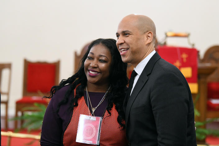 Sen. Cory Booker stops for a photo before a Martin Luther King Jr. prayer service at Zion Baptist Church in Columbia, S.C. (Photo: Meg Kinnard/AP)