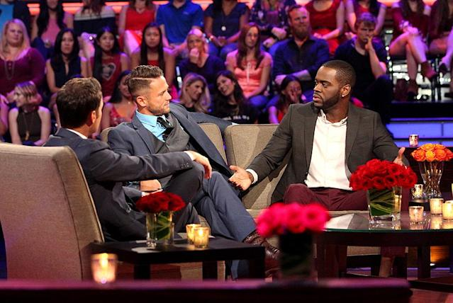 <p>Chris Harrison, Lee and Josiah in ABC's <i>The Bachelorette</i>. <br>(Photo: Paul Hebert/ABC) </p>