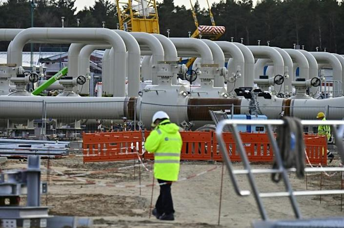 The Nord Stream 2 gas pipeline is built in Lubmin, northeastern Germany - it will double the capacity to ship natural gas from Russia to Germany (AFP Photo/Tobias SCHWARZ)
