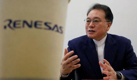 Renesas Electronics Corp's CEO Kure attends a group interview at the company's headquarters in Tokyo