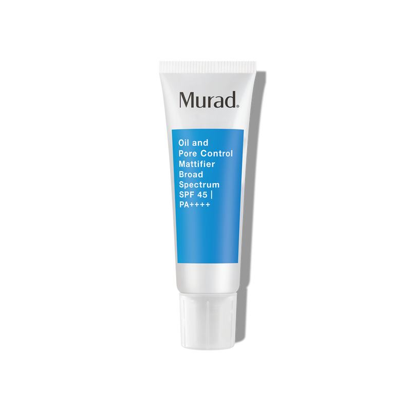 """<h3>Murad Oil and Pore Control Mattifier Broad Spectrum SPF 45<br></h3><br>Sunscreen, while necessary, feels like a chore to put on sometimes, which is why we opt for moisturizers that nourish <em>and</em> protect. This lightweight, oil-free formula helps to fend off oil and blur enlarged pores and provides SPF 45 — so you can rest assured that your T-zone won't peek through come lunchtime, <em>and</em> your skin is safe in the sun (no matter the season). <br><br><strong>Murad</strong> Oil and Pore Control Mattifier Broad Spectrum SPF 45 