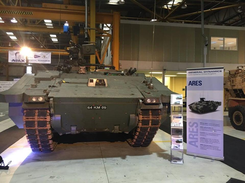 The Ares variant of General Dynamics' Ajax tank at General Dynamic's new production facility near Merthyr Tydfil, South Wales (Benjamin Wright/PA) (PA Archive)