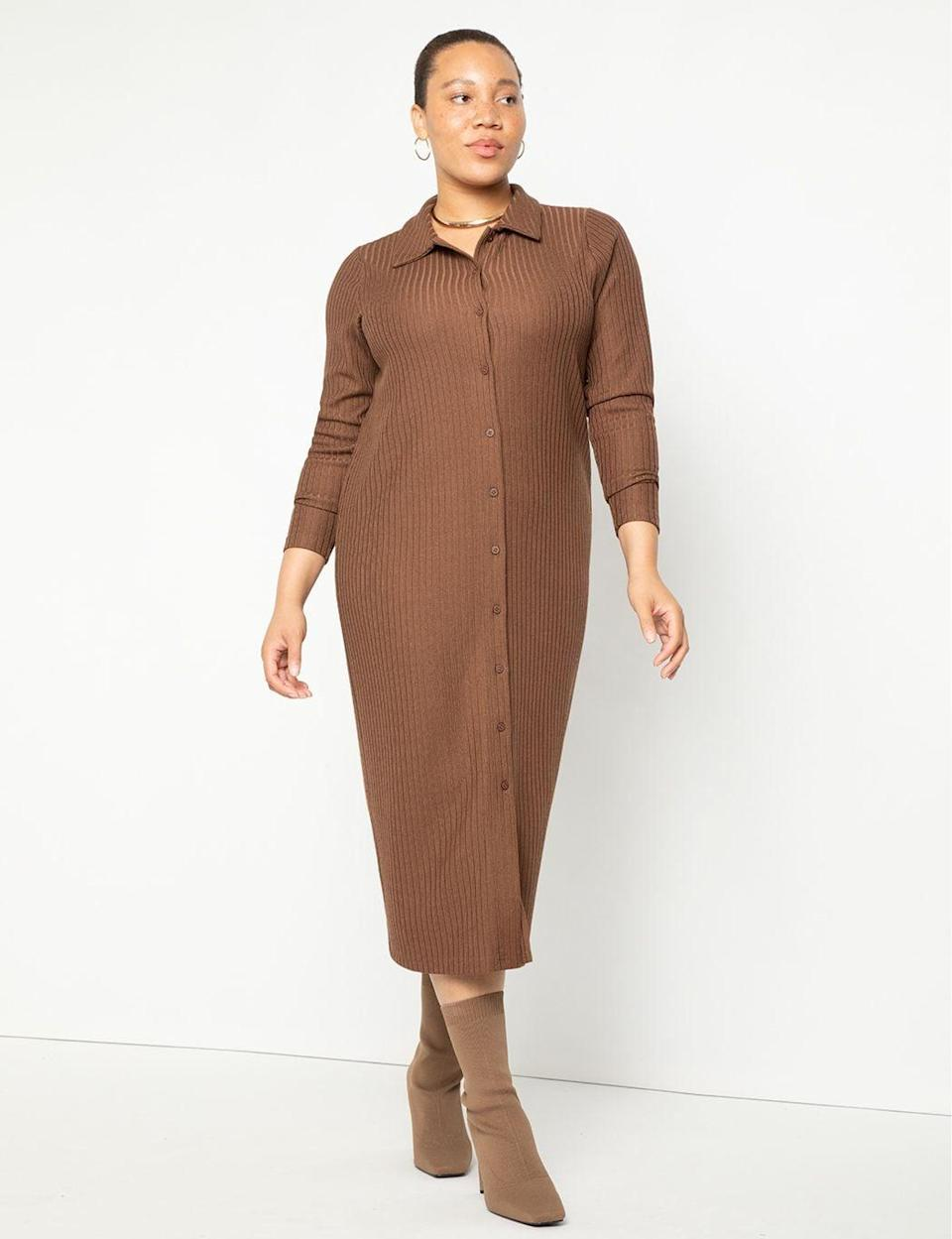 <p><span>Eloquii Button Front Collared Dress Knit</span> ($100)</p>