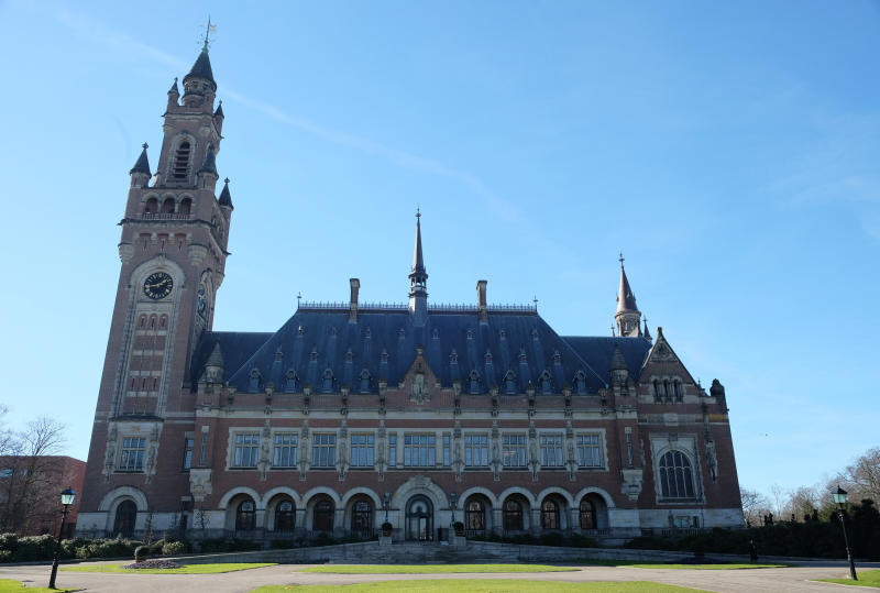 The Peace Palace, home of the International Court of Justice, in the Hague, Netherlands, Monday, Feb. 25, 2019.  The United Nations' highest court will deliver a non-binding opinion on the legality of British sovereignty over the Chagos Islands, in the Indian Ocean some 2000 Km (1250 miles) south of Sri Lanka, the largest of which, Diego Garcia, has housed a strategically important U.S. military base since the 1970s. (AP Photo/Mike Corder)